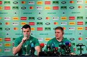 20 September 2019; James Ryan, left, and Tadhg Furlong during the Ireland Rugby squad announcement, ahead of their opening Pool A game against Scotland, at the Yokohama Bay Sheraton Hotel and Towers in Yokohama, Japan. Photo by Brendan Moran/Sportsfile