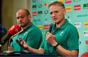 20 September 2019; Ireland head coach Joe Schmidt, right, in the company of captain Rory Best, during the Ireland Rugby squad announcement, ahead of their opening Pool A game against Scotland, at the Yokohama Bay Sheraton Hotel and Towers in Yokohama, Japan. Photo by Brendan Moran/Sportsfile