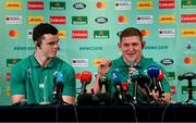 20 September 2019; Tadhg Furlong, right, and James Ryan during the Ireland Rugby squad announcement, ahead of their opening Pool A game against Scotland, at the Yokohama Bay Sheraton Hotel and Towers in Yokohama, Japan. Photo by Brendan Moran/Sportsfile