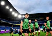 20 September 2019; Ireland players, from left, Garry Ringrose, Keith Earls, Tadhg Beirne and Jonathan Sexton, arrive for the Ireland captain's run ahead of their opening Pool A game against Scotland at the International Stadium in Yokohama, Japan. Photo by Ramsey Cardy/Sportsfile