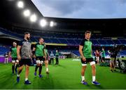 20 September 2019; Josh van der Flier and Defence coach Andy Farrell arrive for the Ireland captain's run ahead of their opening Pool A game against Scotland at the International Stadium in Yokohama, Japan. Photo by Ramsey Cardy/Sportsfile