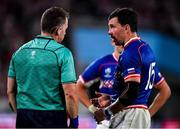 20 September 2019; Vasily Artemyev of Russia speaks to referee Nigel Owens during the 2019 Rugby World Cup Pool A match between Japan and Russia at the Tokyo Stadium in Chofu, Japan. Photo by Brendan Moran/Sportsfile