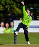 20 September 2019; George Dockrell of Ireland bowls a delivery during the T20 International Tri Series match between Ireland and Scotland at Malahide Cricket Club in Dublin. Photo by Piaras Ó Mídheach/Sportsfile