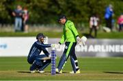 20 September 2019; Craig Wallace of Scotland shakes hands with Gary Wilson of Ireland after the T20 International Tri Series match between Ireland and Scotland at Malahide Cricket Club in Dublin. Photo by Piaras Ó Mídheach/Sportsfile