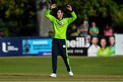 20 September 2019; George Dockrell of Ireland reacts during the T20 International Tri Series match between Ireland and Scotland at Malahide Cricket Club in Dublin. Photo by Piaras Ó Mídheach/Sportsfile