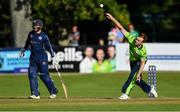 20 September 2019; Shane Getkate of Ireland bowls a delivery during the T20 International Tri Series match between Ireland and Scotland at Malahide Cricket Club in Dublin. Photo by Piaras Ó Mídheach/Sportsfile
