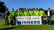 20 September 2019; The Ireland team with Gurmeet Singh/GS Holding Inc, left, and Sona Singh/GS Holding Inc,  after the T20 International Tri Series match between Ireland and Scotland at Malahide Cricket Club in Dublin. Photo by Piaras Ó Mídheach/Sportsfile