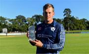 20 September 2019; George Munsey of Scotland with his Player of the Series Award after the T20 International Tri Series match between Ireland and Scotland at Malahide Cricket Club in Dublin. Photo by Piaras Ó Mídheach/Sportsfile