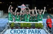 20 September 2019; Iron Cup Winners The Toureen Group, team captain David O'Donnell from Beart Co Donegal lifts the cup as his team-mates celebrate, pictured at Croke Park with the Perpetual Iron Cup for Gaelic Football for the Inaugural Iron Games 2019 in aid of the Irish Haemochromatosis Association (IHA). Well-known Irish construction companies competed in Gaelic Football in Croke Park on Friday, 20th September. Set to raise vital funds to combat the most common genetic disorder in Ireland and to promote health, wellness and engagement amongst construction employees, plans are already afoot to stage the games in 2020, when all industries will be invited to participate and make a real difference to the treatments for this disorder.  Participants can sign up for 2020 or donate on www.haemochromatosis-ir.com. Photo by Matt Browne/Sportsfile