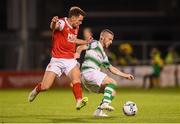20 September 2019; Jack Byrne of Shamrock Rovers in action against Dean Clarke of St Patrick's Athletic during the SSE Airtricity League Premier Division match between Shamrock Rovers and St Patrick's Athletic at Tallaght Stadium in Tallaght, Dublin. Photo by Stephen McCarthy/Sportsfile