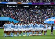 21 September 2019; The Argentina players stand for the National Anthem prior to the 2019 Rugby World Cup Pool C match between France and Argentina at the Tokyo Stadium in Chofu, Japan. Photo by Brendan Moran/Sportsfile