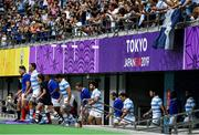 21 September 2019; The two teams make their way out prior to the start of the 2019 Rugby World Cup Pool C match between France and Argentina at the Tokyo Stadium in Chofu, Japan. Photo by Brendan Moran/Sportsfile