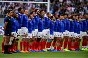 21 September 2019; The France team sings the National Anthem prior to the 2019 Rugby World Cup Pool C match between France and Argentina at the Tokyo Stadium in Chofu, Japan. Photo by Brendan Moran/Sportsfile