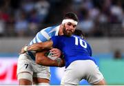 21 September 2019; Marcos Kremer of Argentina is tackled by Romain Ntamack of France during the 2019 Rugby World Cup Pool C match between France and Argentina at the Tokyo Stadium in Chofu, Japan. Photo by Brendan Moran/Sportsfile
