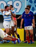 21 September 2019; Julian Montoya of Argentina celebrates with his team-mate Santiago Carreras after scoring his side's second try during the 2019 Rugby World Cup Pool C match between France and Argentina at the Tokyo Stadium in Chofu, Japan. Photo by Brendan Moran/Sportsfile