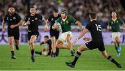 21 September 2019; Cheslin Kolbe of South Africa is tackled by Beauden Barrett of New Zealand during the 2019 Rugby World Cup Pool B match between New Zealand and South Africa at the International Stadium in Yokohama, Japan. Photo by Ramsey Cardy/Sportsfile