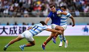 21 September 2019; Damian Penaud of France is tackled by Ramiro Moyano of Argentina during the 2019 Rugby World Cup Pool C match between France and Argentina at the Tokyo Stadium in Chofu, Japan. Photo by Brendan Moran/Sportsfile