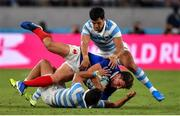 21 September 2019; Damian Penaud of France is tackled by Matías Moroni and Tomas Cubelli of Argentina during the 2019 Rugby World Cup Pool C match between France and Argentina at the Tokyo Stadium in Chofu, Japan. Photo by Brendan Moran/Sportsfile
