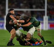 21 September 2019; Siya Kolisi of South Africa is tackled by Codie Taylor of New Zealand during the 2019 Rugby World Cup Pool B match between New Zealand and South Africa at the International Stadium in Yokohama, Japan. Photo by Ramsey Cardy/Sportsfile