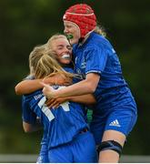 21 September 2019; Orla Hayes of Leinster celebrates with team-mates after scoring her side's first try during the Under 18 Girls Interprovincial Rugby Championship third place play-off match between Leinster and Connacht at MU Barnhall in Leixlip, Kildare. Photo by Eóin Noonan/Sportsfile