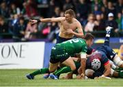 21 September 2019; Nick McCarthy of Munster plays topless during the Pre-Season Friendly match between Connacht and Munster at The Galway Sportsground in Galway. Photo by Harry Murphy/Sportsfile