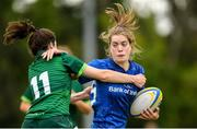 21 September 2019; Katie Whelan of Leinster is tackled by Katie Hogan of Connacht during the Under 18 Girls Interprovincial Rugby Championship Third place play-off match between Leinster and Connacht at MU Barnhall in Leixlip, Kildare. Photo by Eóin Noonan/Sportsfile