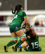 21 September 2019; Caoimhe O'Callaghan of Leinster is tackled by Nina McVann of Connacht during the Under 18 Girls Interprovincial Rugby Championship Third place play-off match between Leinster and Connacht at MU Barnhall in Leixlip, Kildare. Photo by Eóin Noonan/Sportsfile