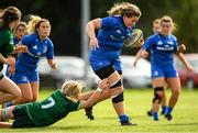 21 September 2019; Megan Collis of Leinster is tackled by Hannah Johnston of Connacht during the Under 18 Girls Interprovincial Rugby Championship Third place play-off match between Leinster and Connacht at MU Barnhall in Leixlip, Kildare. Photo by Eóin Noonan/Sportsfile