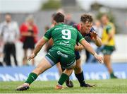 21 September 2019; Jack Stafford of Munster in action against Caolin Blade of Connacht during the Pre-Season Friendly match between Connacht and Munster at The Galway Sportsground in Galway. Photo by Harry Murphy/Sportsfile