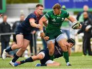 21 September 2019; Peter Robb of Connacht is tackled by Tyler Bleyendaal, right, and Rory Scannell of Munster  during the Pre-Season Friendly match between Connacht and Munster at The Galway Sportsground in Galway. Photo by Harry Murphy/Sportsfile