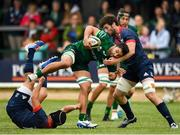 21 September 2019; Colby Fainga'a of Connacht is tackled by Seán O'Connor, right, and Tyler Bleyendaal of Munster during the Pre-Season Friendly match between Connacht and Munster at The Galway Sportsground in Galway. Photo by Harry Murphy/Sportsfile