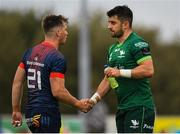 21 September 2019; Tiernan O'Halloran of Connacht shakes hands with Jack Stafford of Munster the Pre-Season Friendly match between Connacht and Munster at The Galway Sportsground in Galway. Photo by Harry Murphy/Sportsfile
