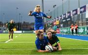 21 September 2019; Grace Miller of Leinster scores her side's third try despite the tackle of Beibhinn Parsons of Connacht during the Women's Interprovincial Championship Final match between Leinster and Connacht at Energia Park in Donnybrook, Dublin. Photo by Eóin Noonan/Sportsfile