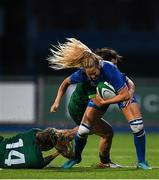 21 September 2019; Megan Williams of Leinster is tackled by Beibhinn Parsons, left, and Mary Healy of Connacht during the Women's Interprovincial Championship Final match between Leinster and Connacht at Energia Park in Donnybrook, Dublin. Photo by Eóin Noonan/Sportsfile
