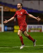 21 September 2019; Conan Byrne of Shelbourne celebrates after scoring his side's second goal during the SSE Airtricity League First Division match between Shelbourne and Limerick FC at Tolka Park in Dublin. Photo by Stephen McCarthy/Sportsfile