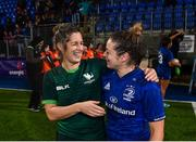 21 September 2019; Grace Miller of Leinster and Alison Miller of Connacht following the Women's Interprovincial Championship Final match between Leinster and Connacht at Energia Park in Donnybrook, Dublin. Photo by Eóin Noonan/Sportsfile
