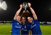 21 September 2019; Leinster captain Sene Naoupu with vice captains Michelle Claffey, left, and Lindsay Peat, right following the Women's Interprovincial Championship Final match between Leinster and Connacht at Energia Park in Donnybrook, Dublin. Photo by Eóin Noonan/Sportsfile