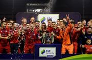 21 September 2019; Shelbourne captain Lorcan Fitzgerald, left, and Dean Delany lift the SSE Airtricity League First Division cup following their SSE Airtricity League First Division match against Limerick FC at Tolka Park in Dublin. Photo by Stephen McCarthy/Sportsfile