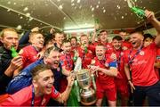 21 September 2019; Shelbourne players celebrate with the SSE Airtricity League First Division cup following their SSE Airtricity League First Division match against Limerick FC at Tolka Park in Dublin. Photo by Stephen McCarthy/Sportsfile
