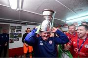 21 September 2019; Kit-man Johnny Watson celebrates with the SSE Airtricity League First Division cup following their SSE Airtricity League First Division match against Limerick FC at Tolka Park in Dublin. Photo by Stephen McCarthy/Sportsfile