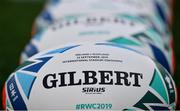 22 September 2019; A general view of the match ball ahead of the 2019 Rugby World Cup Pool A match between Ireland and Scotland at the International Stadium in Yokohama, Japan. Photo by Ramsey Cardy/Sportsfile