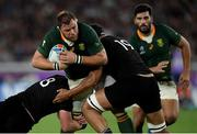 21 September 2019; Duane Vermeulen of South Africa is tackled by Kieran Read, left, and Patrick Tuipulotu of New Zealand during the 2019 Rugby World Cup Pool B match between New Zealand and South Africa at the International Stadium in Yokohama, Japan. Photo by Ramsey Cardy/Sportsfile