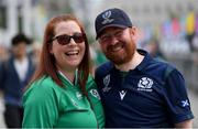 22 September 2019; Ireland supporter Julie McMahon and Scotland supporter Steve Reilly ahead of the 2019 Rugby World Cup Pool A match between Ireland and Scotland at the International Stadium in Yokohama, Japan. Photo by Ramsey Cardy/Sportsfile