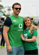 22 September 2019; Ireland supporters Shane O'Leary and Therese Philbin, from Naas, Kildare, ahead of the 2019 Rugby World Cup Pool A match between Ireland and Scotland at the International Stadium in Yokohama, Japan. Photo by Ramsey Cardy/Sportsfile