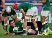22 September 2019; Tadhg Furlong of Ireland celebrates after scoring his side's third try during the 2019 Rugby World Cup Pool A match between Ireland and Scotland at the International Stadium in Yokohama, Japan. Photo by Brendan Moran/Sportsfile