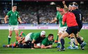 22 September 2019; Tadhg Furlong of Ireland, with the support of team-mate Rory Best, scores his side's third try during the 2019 Rugby World Cup Pool A match between Ireland and Scotland at the International Stadium in Yokohama, Japan. Photo by Ramsey Cardy/Sportsfile