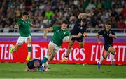 22 September 2019; Jacob Stockdale of Ireland is tackled by Stuart Hogg of Scotland during the 2019 Rugby World Cup Pool A match between Ireland and Scotland at the International Stadium in Yokohama, Japan. Photo by Ramsey Cardy/Sportsfile