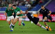 22 September 2019; Jacob Stockdale of Ireland in action against Stuart Hogg of Scotland during the 2019 Rugby World Cup Pool A match between Ireland and Scotland at the International Stadium in Yokohama, Japan. Photo by Brendan Moran/Sportsfile