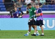 22 September 2019; Bundee Aki of Ireland leaves the pitch for a head injury assessment during the 2019 Rugby World Cup Pool A match between Ireland and Scotland at the International Stadium in Yokohama, Japan. Photo by Brendan Moran/Sportsfile