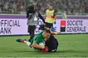 22 September 2019; Andrew Conway of Ireland scores his side's fourth try despite the tackle of Grant Gilchrist of Scotland during the 2019 Rugby World Cup Pool A match between Ireland and Scotland at the International Stadium in Yokohama, Japan. Photo by Brendan Moran/Sportsfile